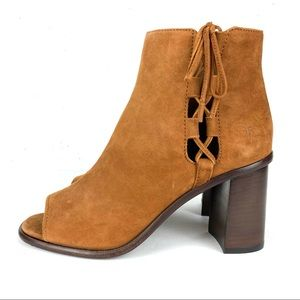 Frye Amy Side Ghillie Peep Toe Suede Laced Boots Nutmeg Brown Size 7.5
